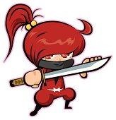 A red-haired girl ninja's vector illustration.