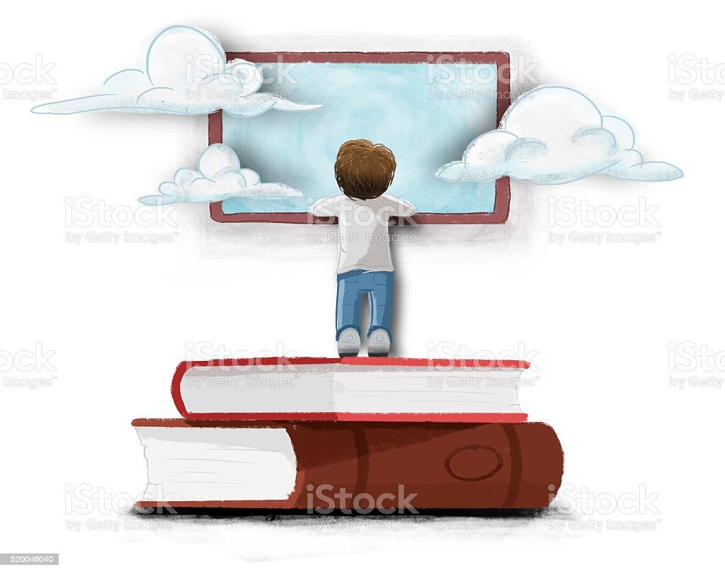 Niño asomado en una ventana sobre libros vector art illustration