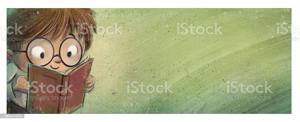 niño con gafas leyendo un libro vector art illustration