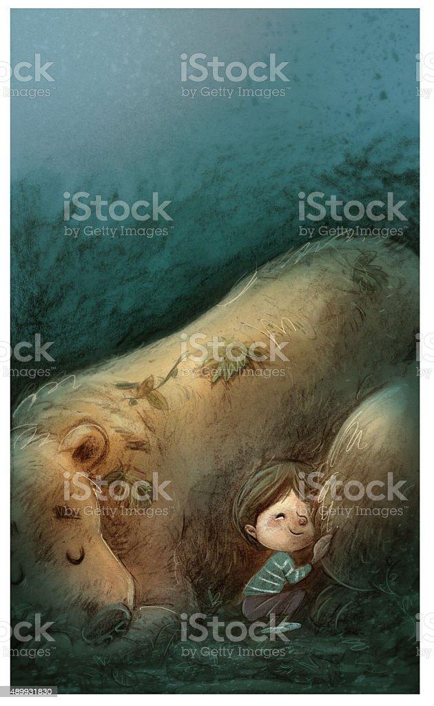 niño durmiendo con oso - ilustração de arte em vetor