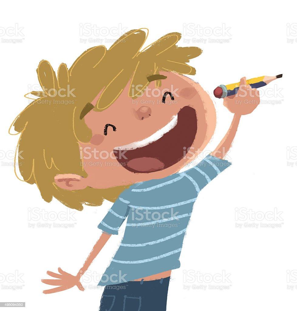 niño escribiendo con lapiz vector art illustration