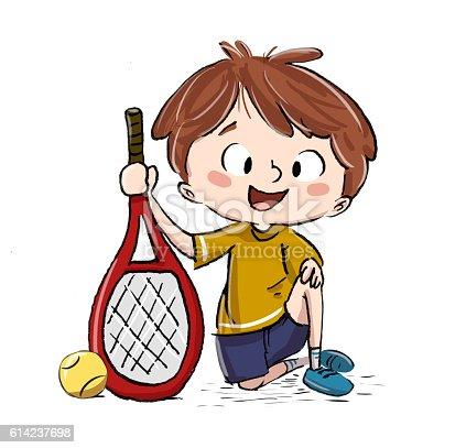 istock Niño jugando al tenis 614237698