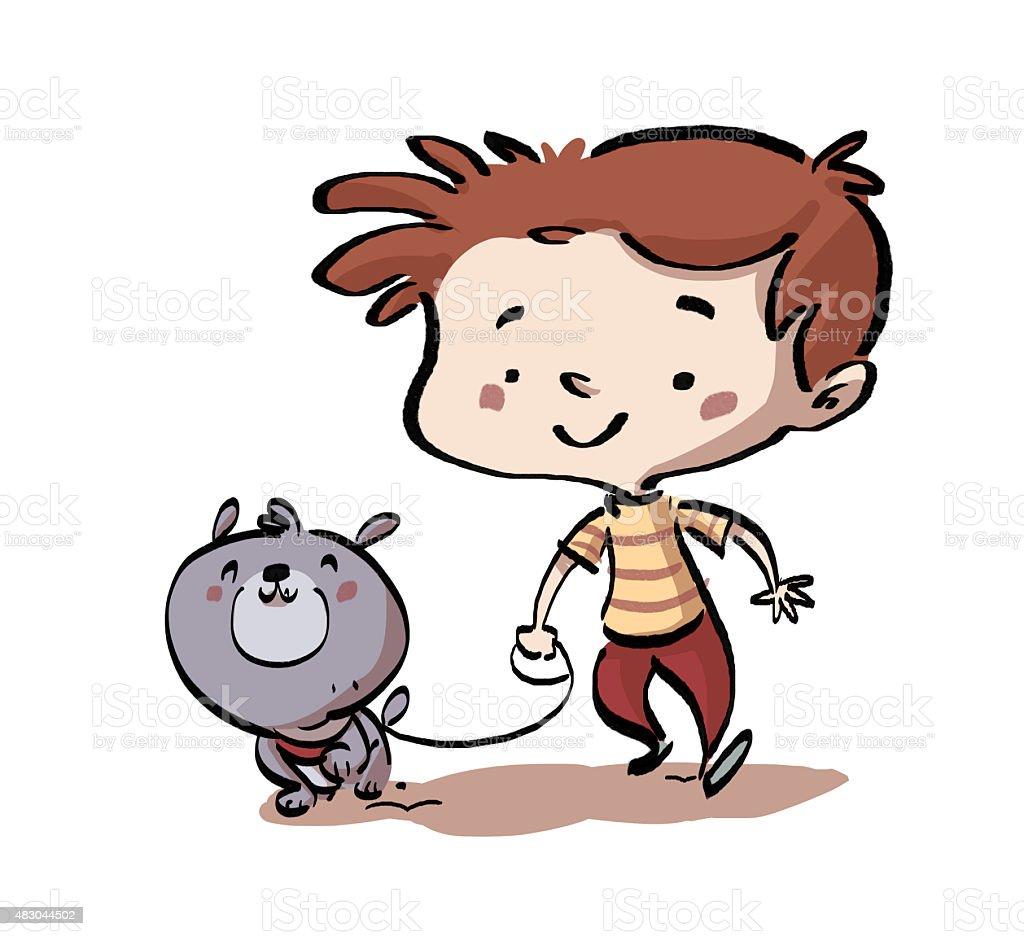 niño paseando um cachorro su - ilustração de arte em vetor