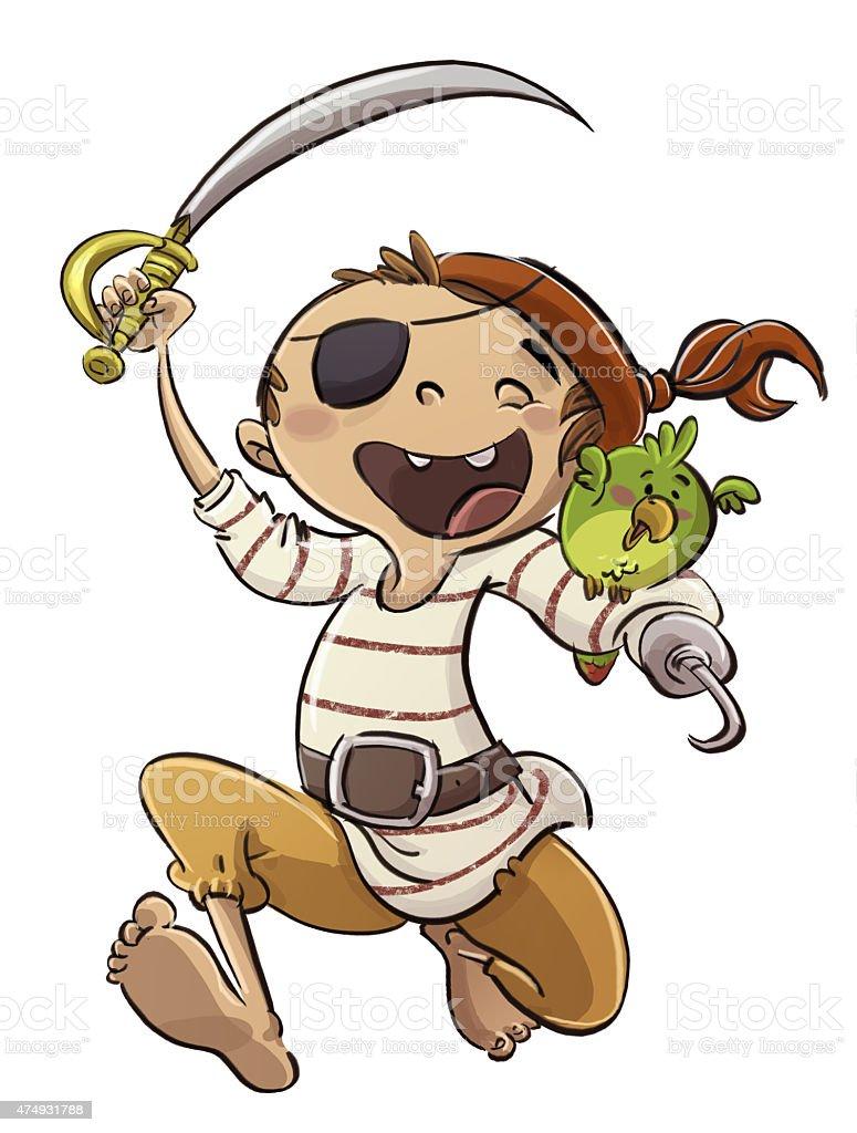 niño pirata con loro - ilustração de arte em vetor