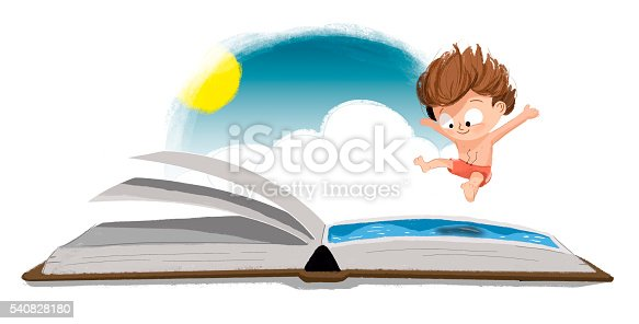 istock Niño saltando a un libro 540828180