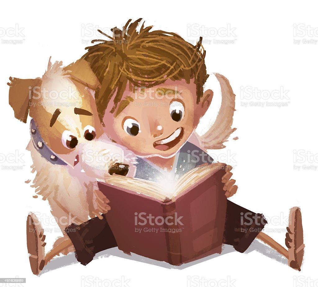 niño y cachorro leyendo ONU libro - ilustração de arte em vetor