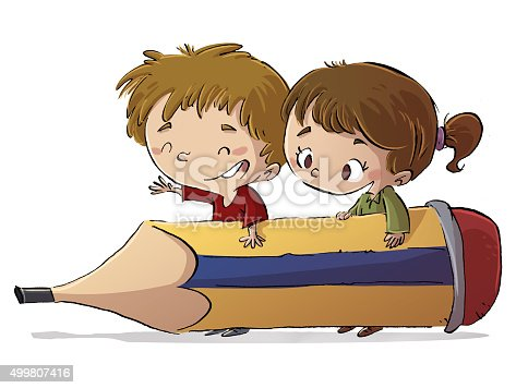 istock niños con lapiz gigante 499807416
