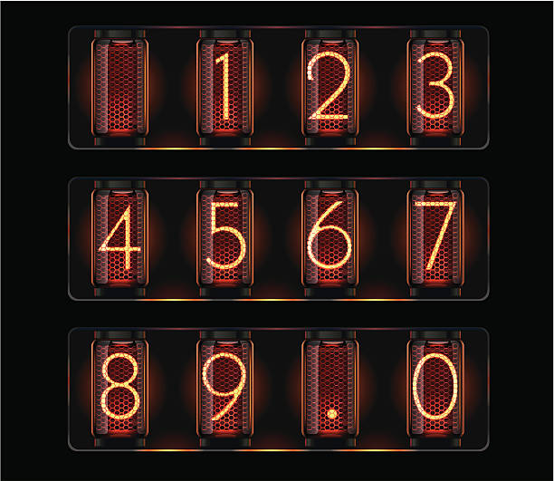 stockillustraties, clipart, cartoons en iconen met nixie tubes with digits - radiobuis