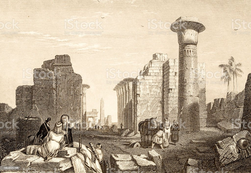 No Ammon, Thebes, 19 century illustration of bibleic places vector art illustration