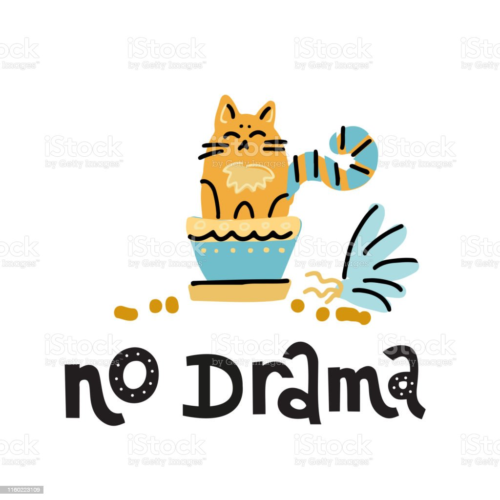No Drama Hand Drawn Lettering Text About Pet Positive Quote Poster