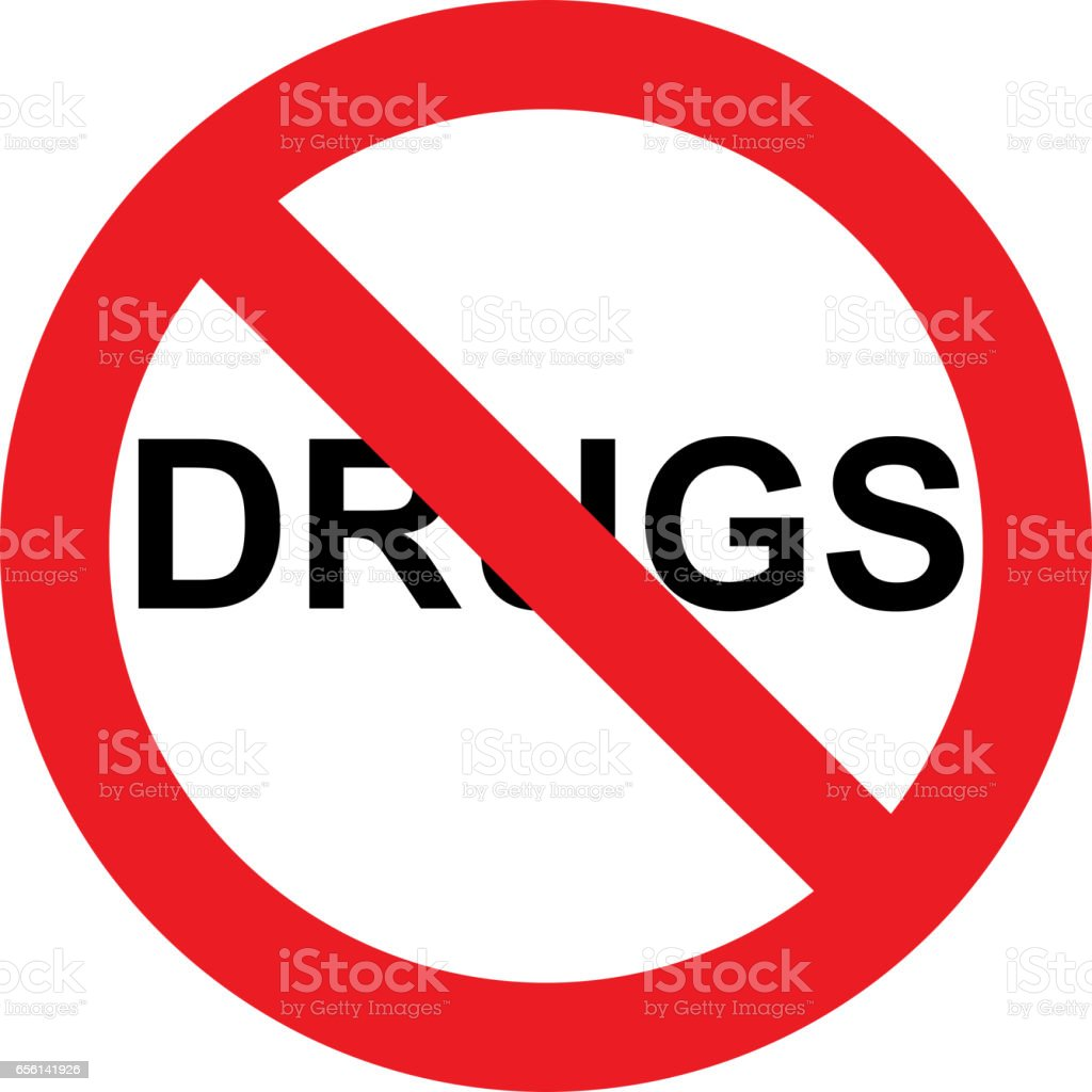 No drugs sign vector art illustration