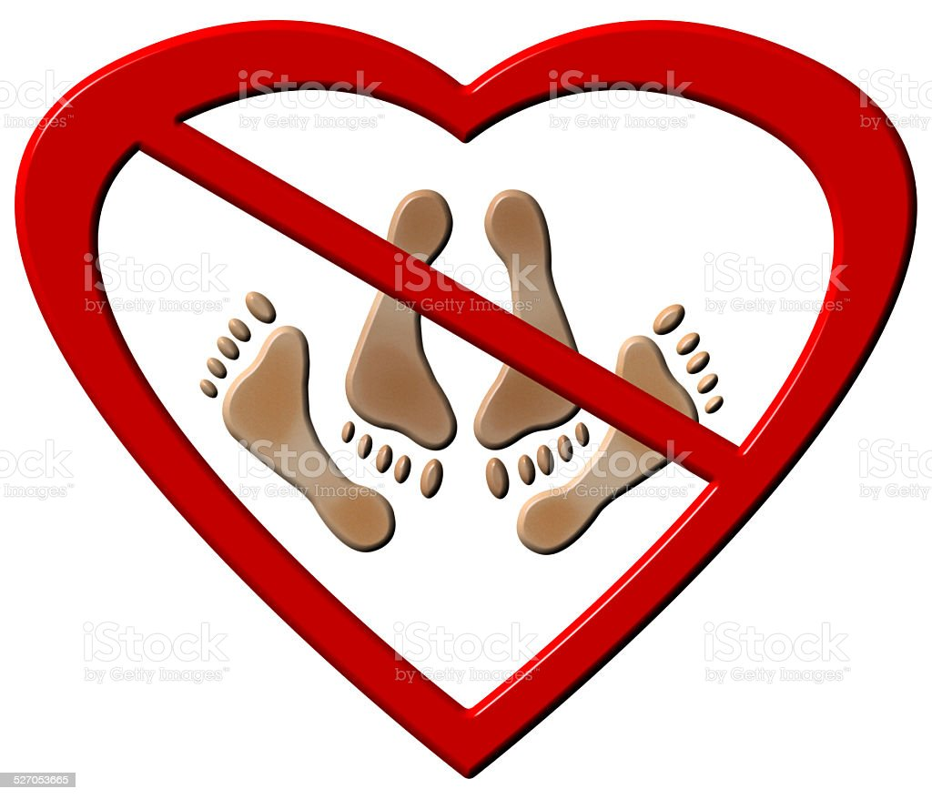 No Love Making Feet Sign vector art illustration
