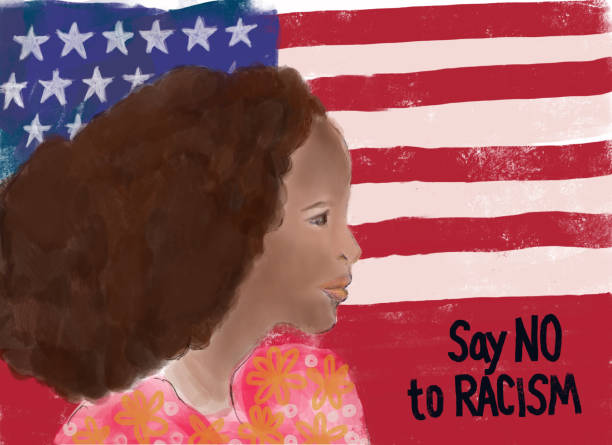 No to Racism - woman with protest message and American flag vector art illustration