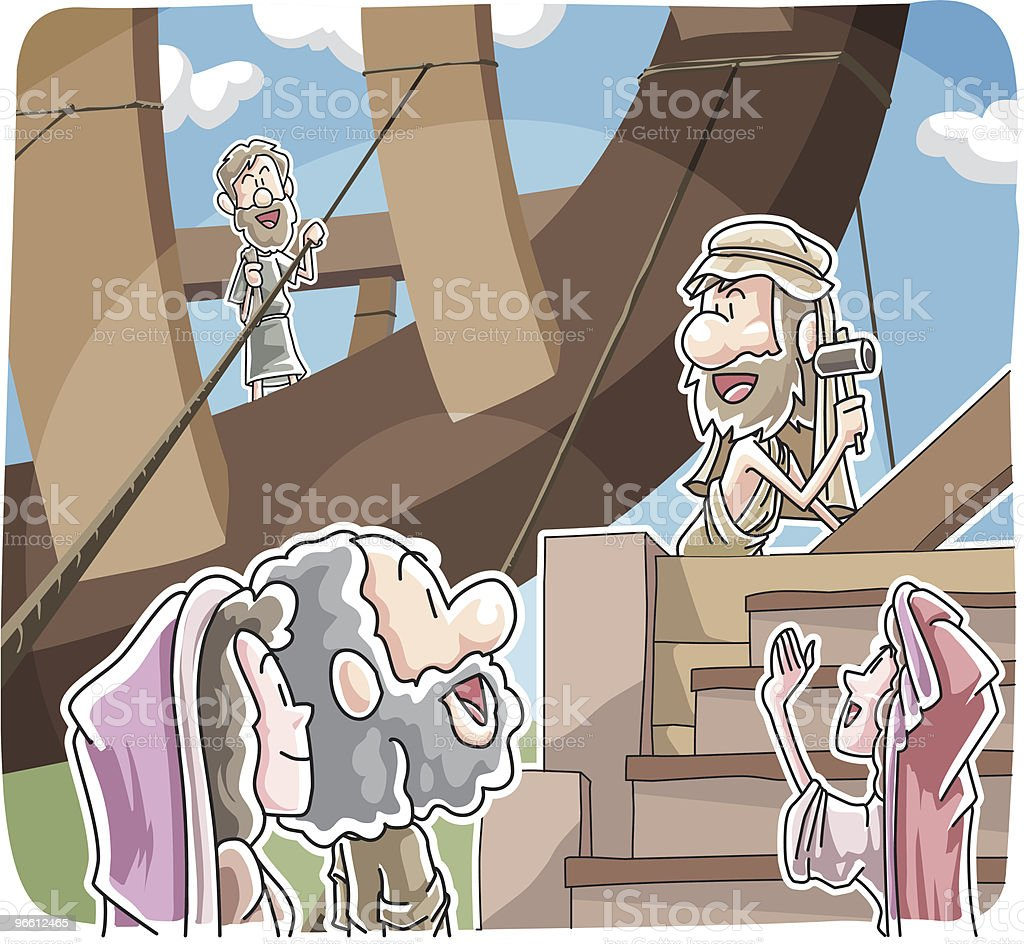 Noah building the ark - Royalty-free Adult stock vector