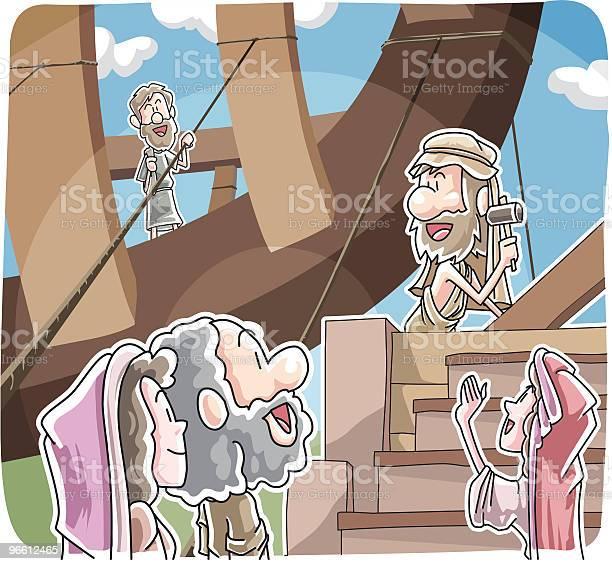 Noah Building The Ark-vektorgrafik och fler bilder på Bygga