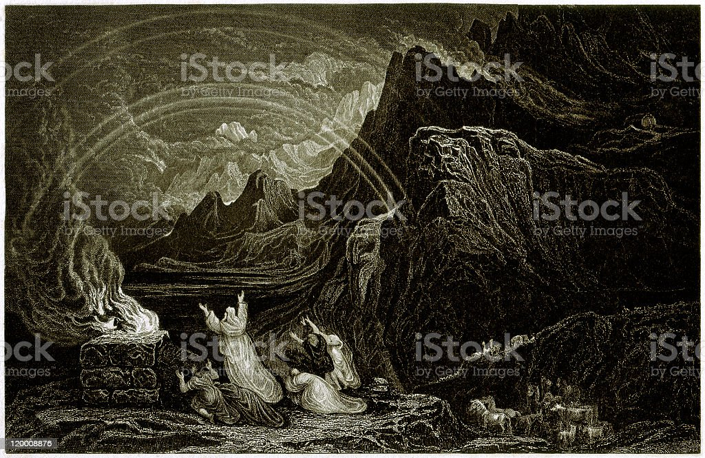 Noah's Sacrifice (Genesis 8, 20-22), steel engraving, published in 1836 royalty-free stock vector art