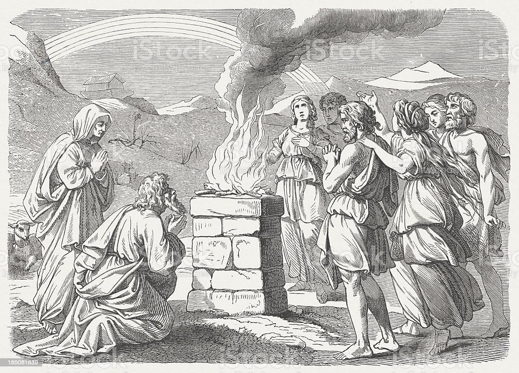 Noah's Sacrifice (Genesis 8, 20-22), wood engraving, published in 1877 royalty-free stock vector art