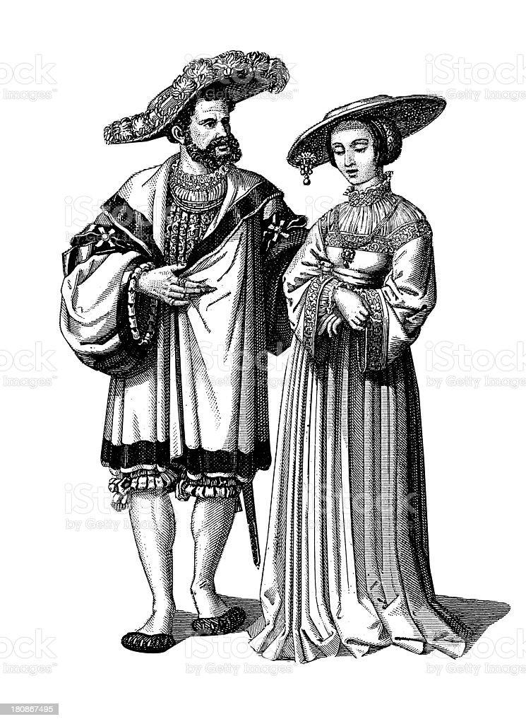Noble family from XV - XVI century vector art illustration