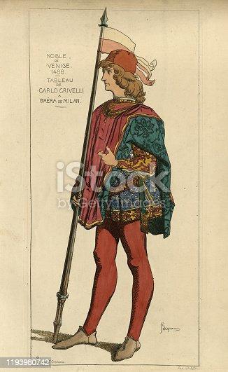 Vintage engraving of Medieval fashion, Noble of Venice. 1488. Painting by Carlo Crivelli la Bréra de Milan.. Iconographie generale et methodique du Costume, Raphael JACQUEMIN