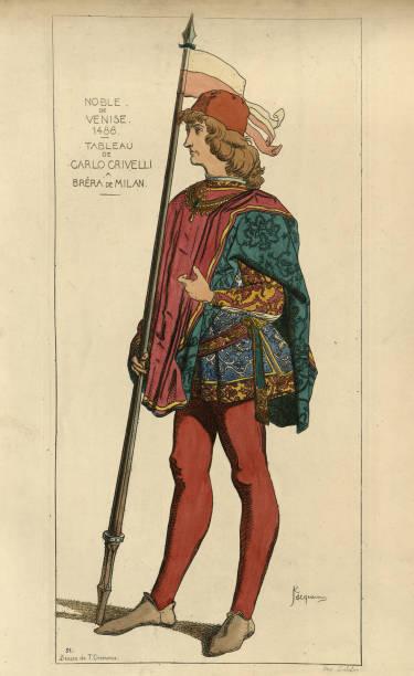 illustrazioni stock, clip art, cartoni animati e icone di tendenza di noble man of venice, italy, 15th century, wearing cloak, doublet - alta moda italy
