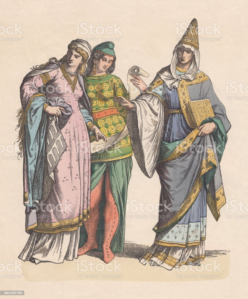 Noble normans, 11th century, hand-colored woodcut, published c.1880 vector art illustration