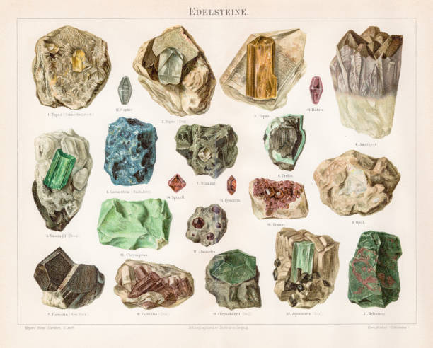 noble stones chromolithograph 1895 - gemstone stock illustrations, clip art, cartoons, & icons