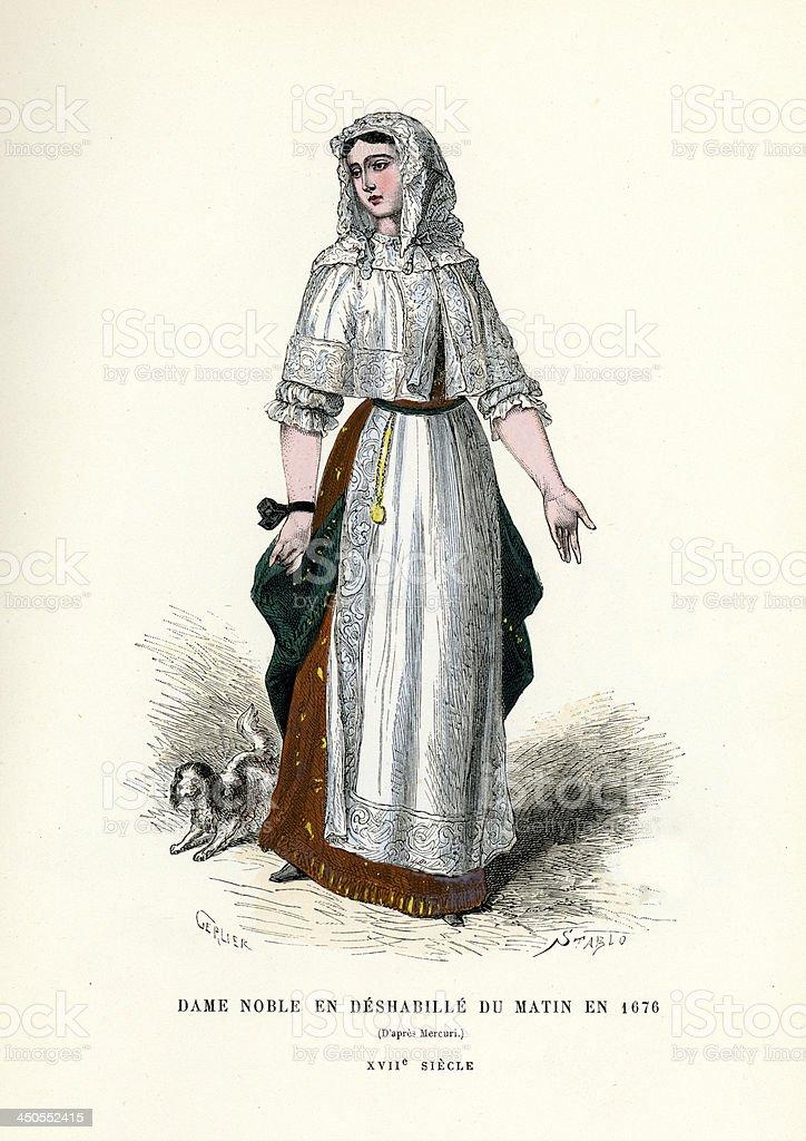 Noble Woman 17th Century royalty-free stock vector art