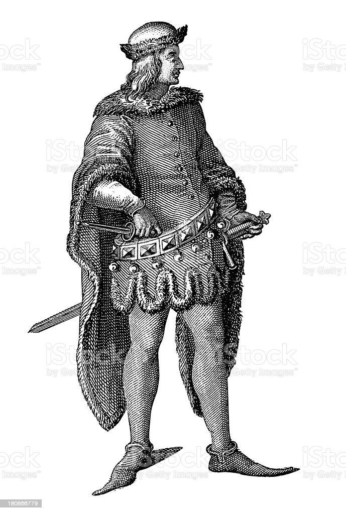 Nobleman from XV century royalty-free stock vector art