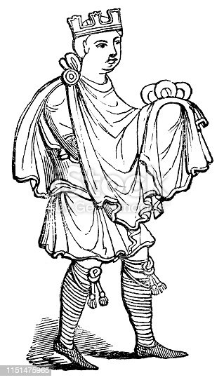 Portrait of a nobleman wear cross braced garters or cross-garters  (circa 12th century)  from the Works of William Shakespeare. Vintage etching circa mid 19th century.