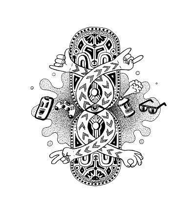 Noir Ethnopop Doodle Hand Drawn Pen Ink Illustration New