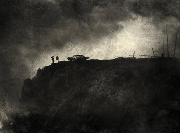 stockillustraties, clipart, cartoons en iconen met noir scene - mist donker auto