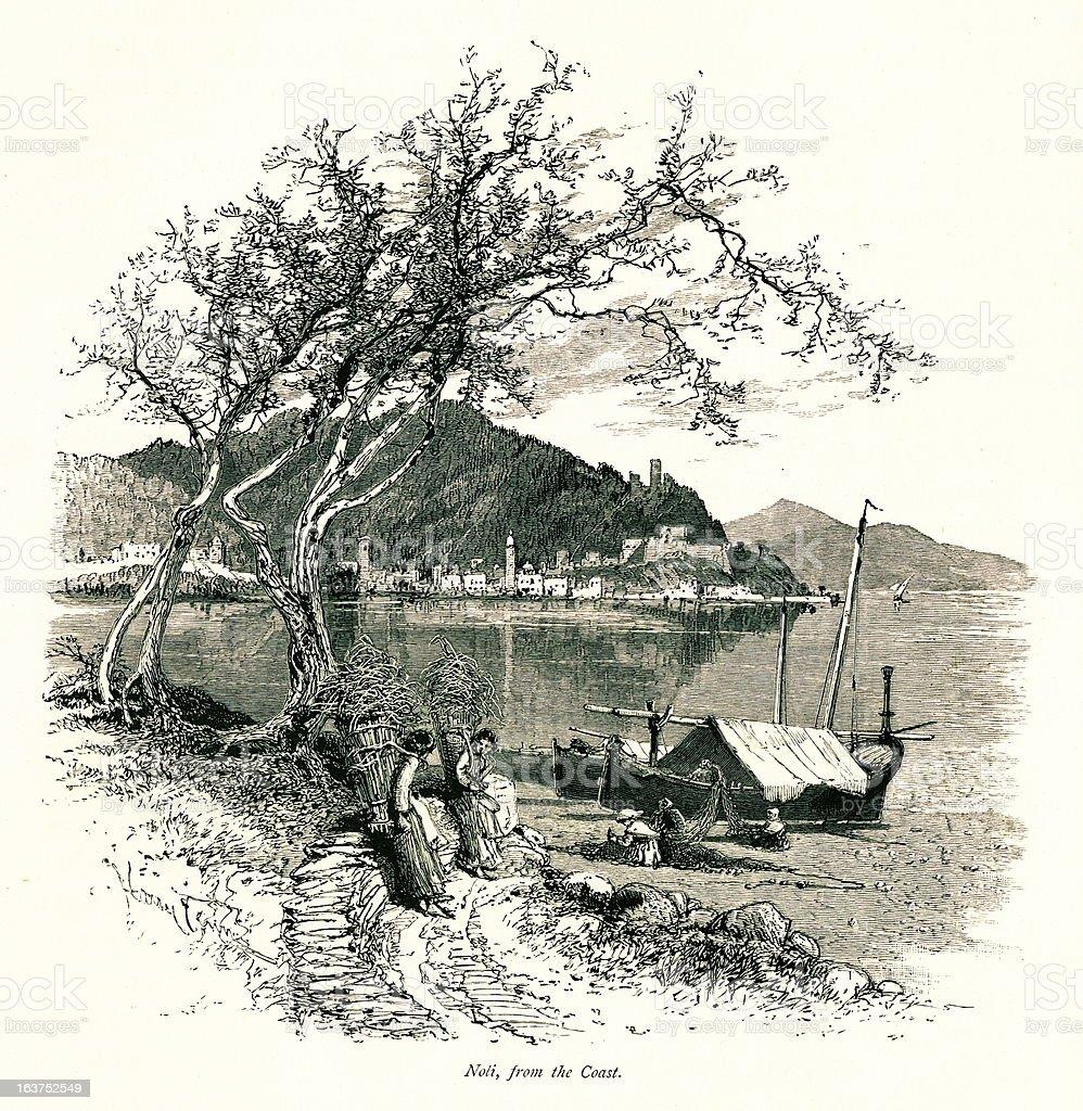 Noli, Italy I Antique European Illustrations vector art illustration