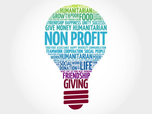 stockillustraties, clipart, cartoons en iconen met non profit lamp word cloud - non profit