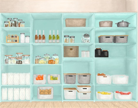 Nonperishable Food Staples, Preserved Foods, Healty Eatings, Fruits And Vegetables In Turquoise Colored Cabinet In Storage Room