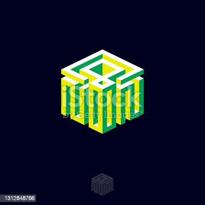 istock Noon monogram as cube. 1312848766