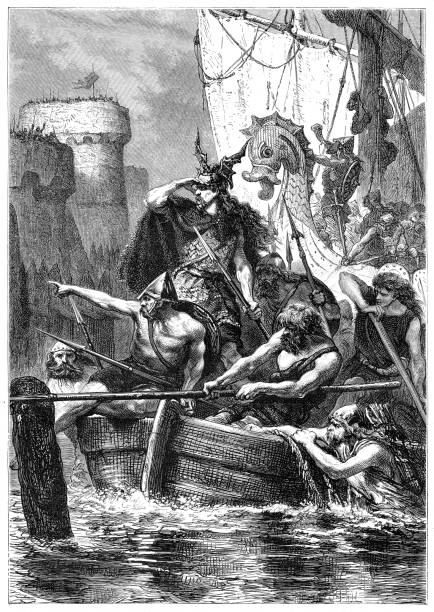 Normans or vikings on river Seine attacking Paris 845 Normans or vikings under command of Duke Reginher or Raginerus in march 845 with fleet of 120 ships on river Seine attacking Paris Drawing : A. de Neuville Source : Illustrierte Geschichte 1881 seine river stock illustrations