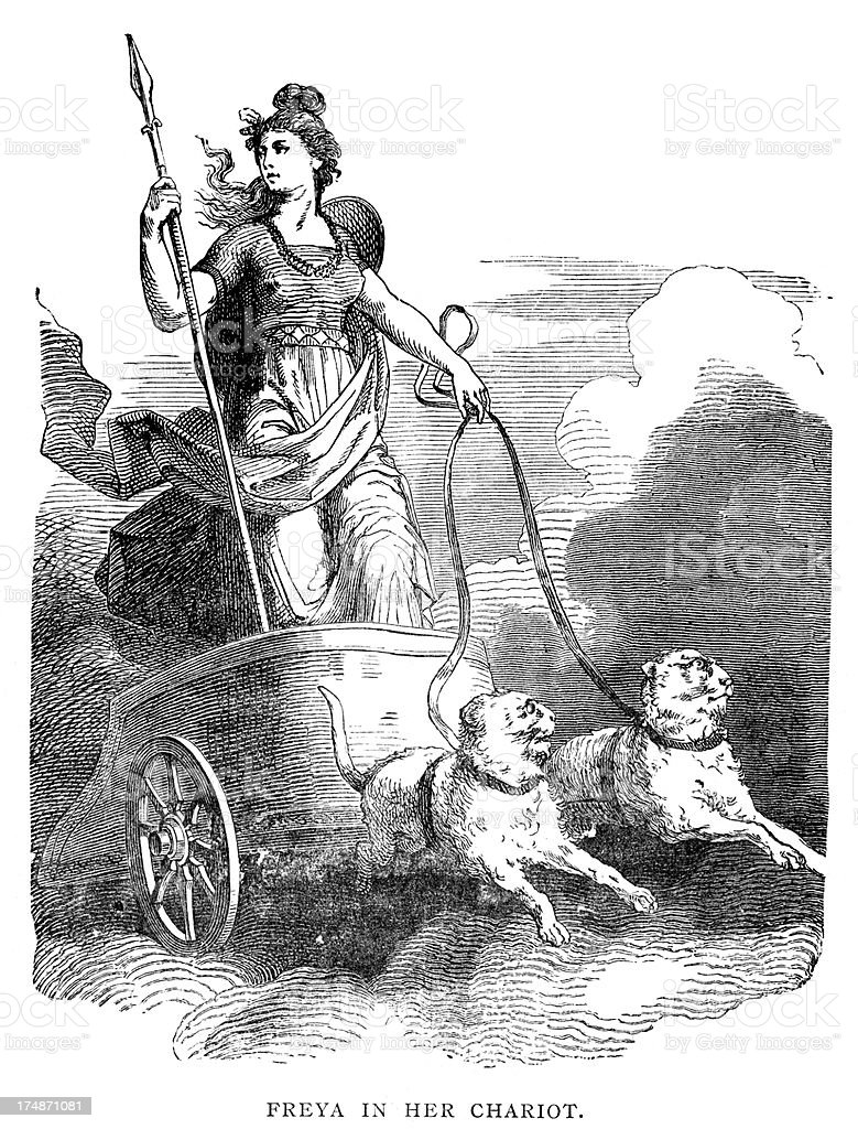 norse mythology freya in her chariot stock vector art