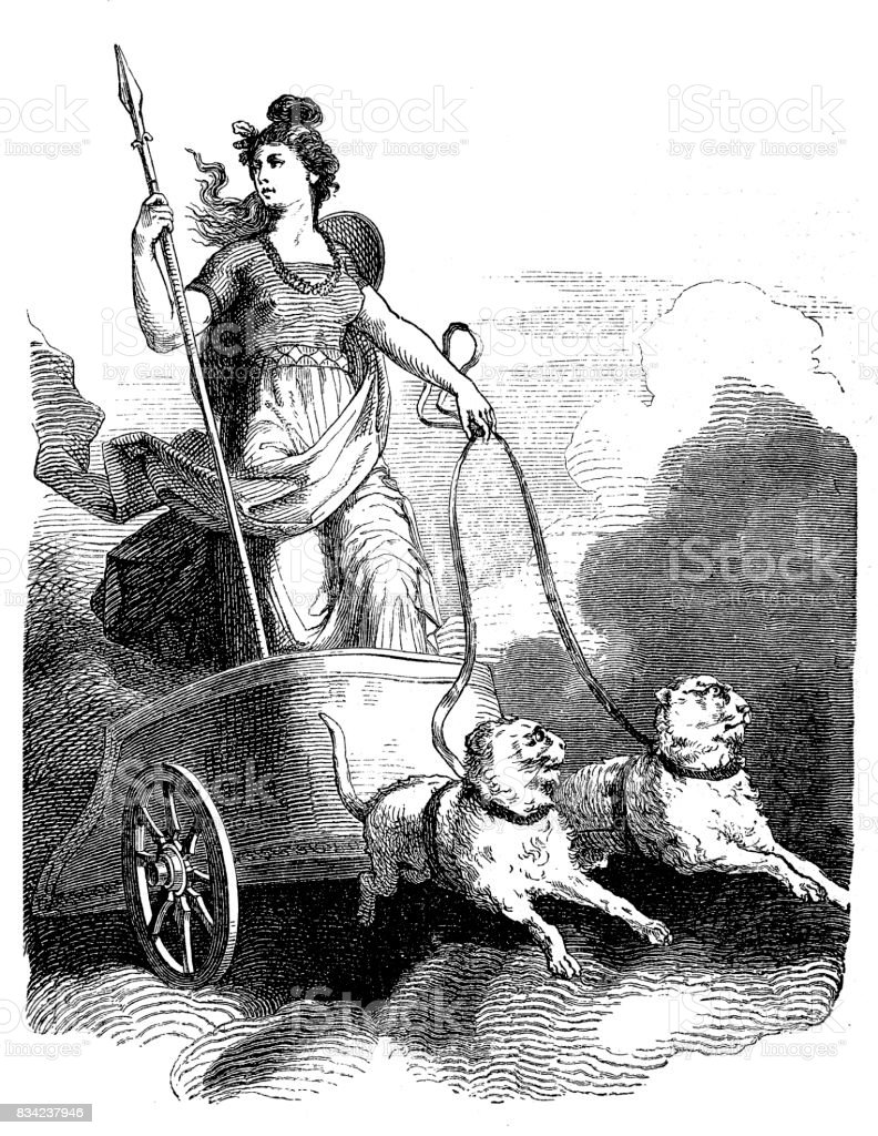 Norse Mythology Freya In Her Chariot Stock Illustration