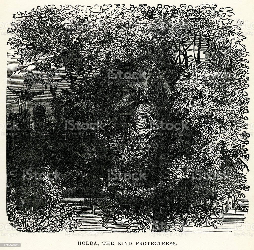 Norse mythology - Holda The Kind Protectress royalty-free norse mythology holda the kind protectress stock vector art & more images of antique