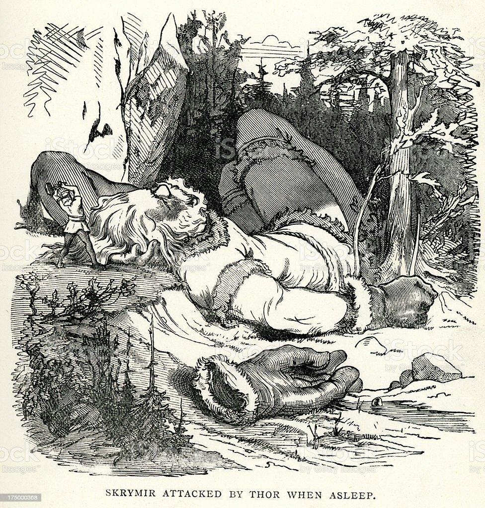 Norse mythology - Thor attacking Skrymir royalty-free stock vector art