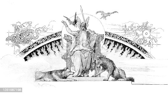 Odin from Old Norse is a widely revered god in Germanic mythology. Norse mythology, the source of most surviving information about him, associates Odin with wisdom, healing, death, royalty, the gallows, knowledge, war, battle, victory, sorcery, poetry, frenzy, and the runic alphabet, and portrays him as the husband of the goddess Frigg. Odin with his ravens Huginn and Muninn and wolves Geri and Freki nearby Original edition from my own archives Source : Gartenlaube 1899 Drawing : Carl Gehrts
