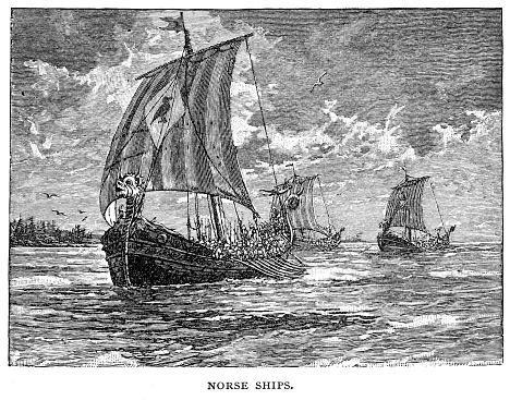 Norse ships engraving 1895