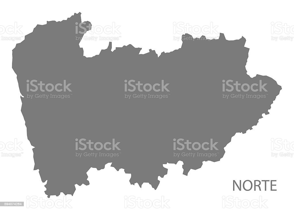 Norte Portugal Map Grey Stock Vector Art IStock - Portugal norte map