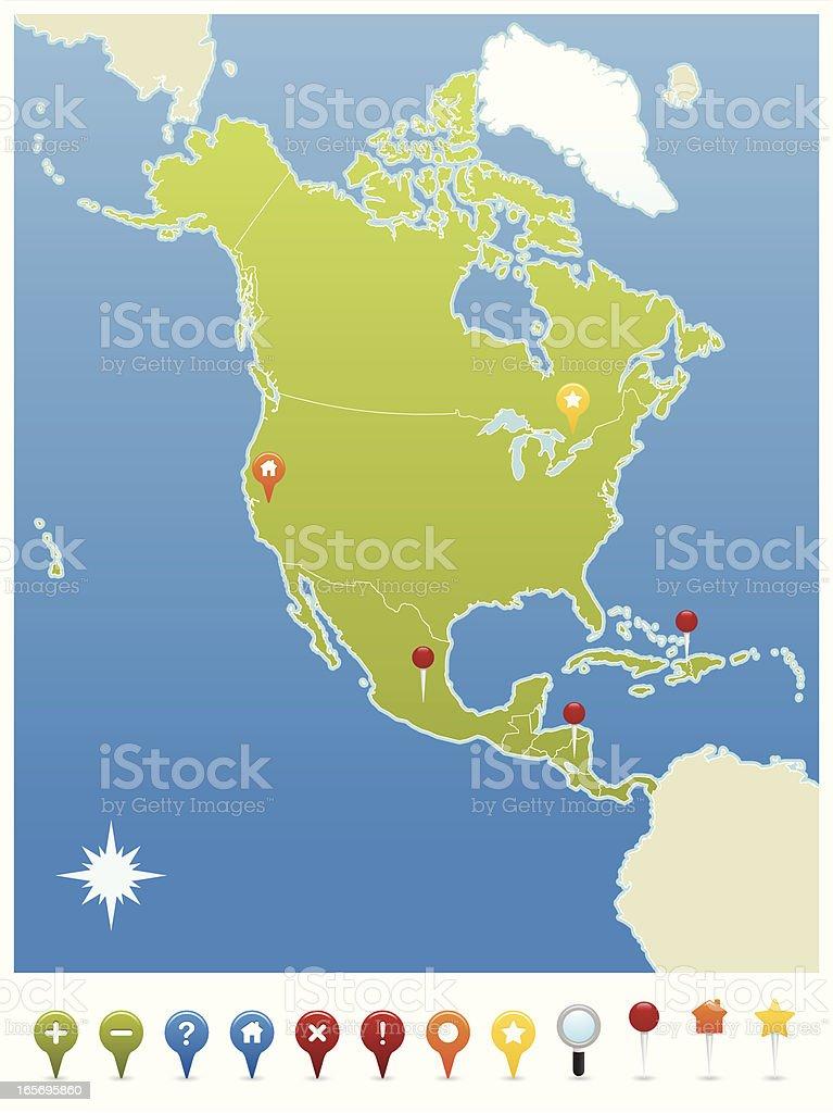Carte Gps Amerique Du Nord.Etatsunis Damerique Du Nord Carte Gps Icones Cliparts Vectoriels