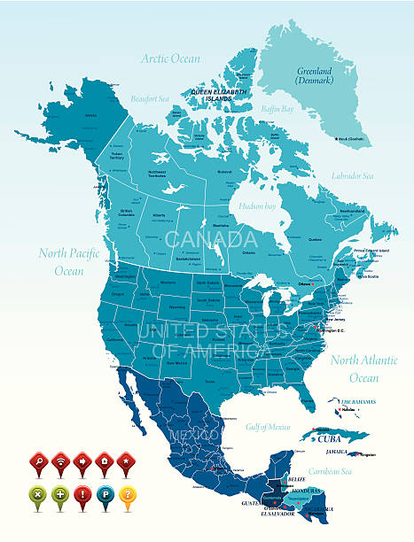 north america - north america maps stock illustrations, clip art, cartoons, & icons