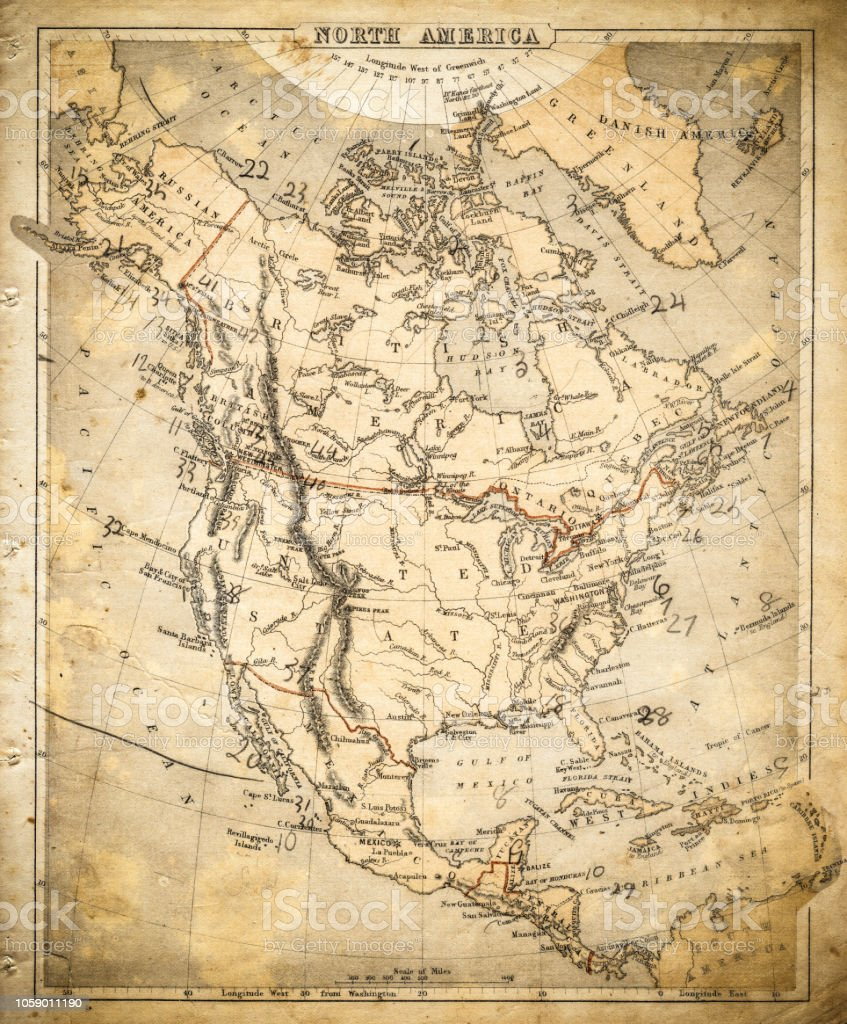 North America Map Of 1869 Stock Vector Art More Images Of Antique - Us-map-1869