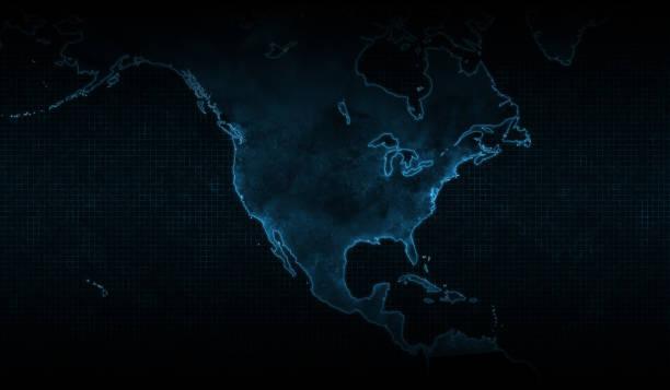 コロナウイルスの北米地図、青い背景。 - corona newyork点のイラスト素材/クリップアート素材/マンガ素材/アイコン素材