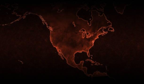 コロナウイルスの北米地図、 赤い背景。 - corona newyork点のイラスト素材/クリップアート素材/マンガ素材/アイコン素材