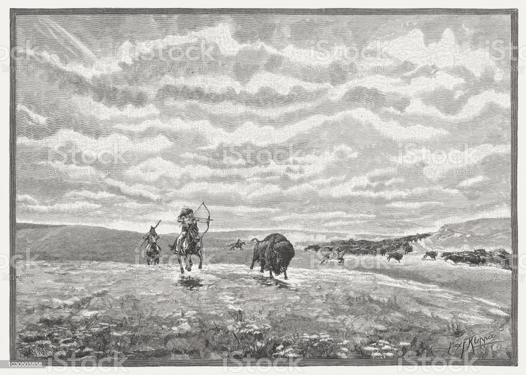 North American Indians hunt buffalo, wood engraving, published in 1888 vector art illustration