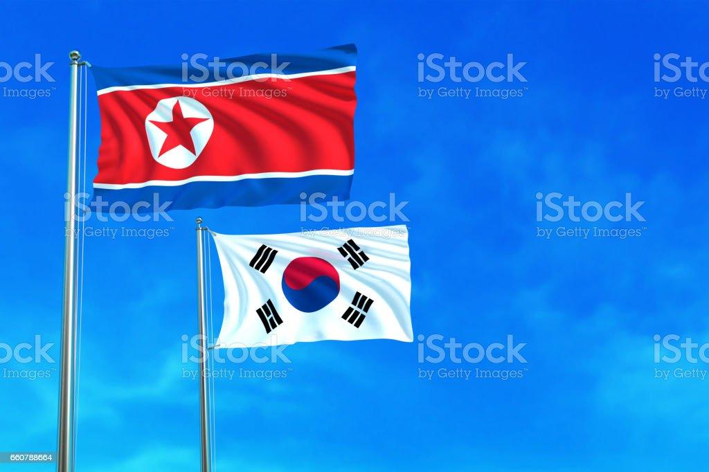 North and South Korea flags on the blue sky. - ilustração de arte em vetor